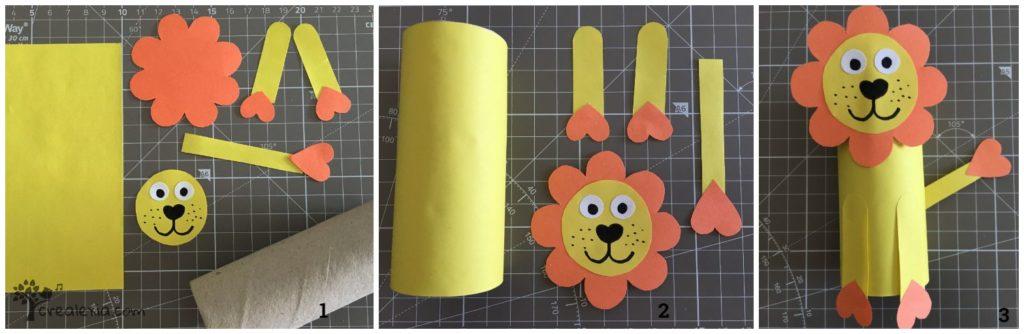oroszlán diy papír gurigából
