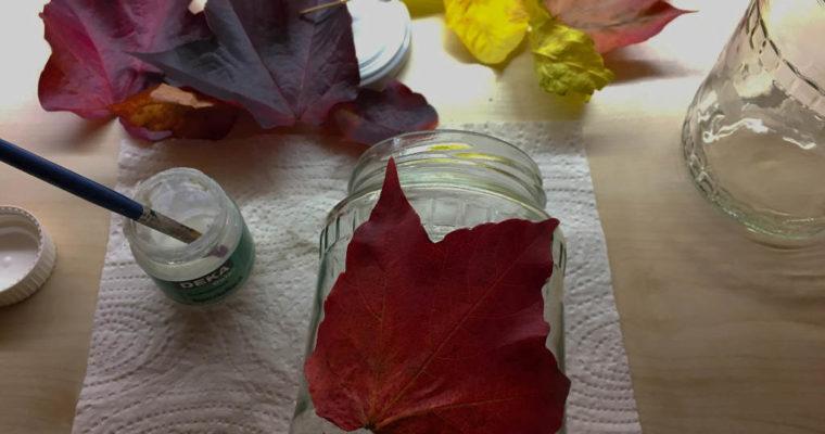 Őszi hangulatú mécsestartó és édesség