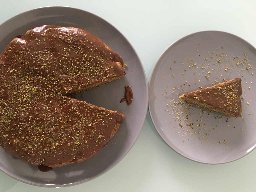 Torta pistacchio con crema di nocciole